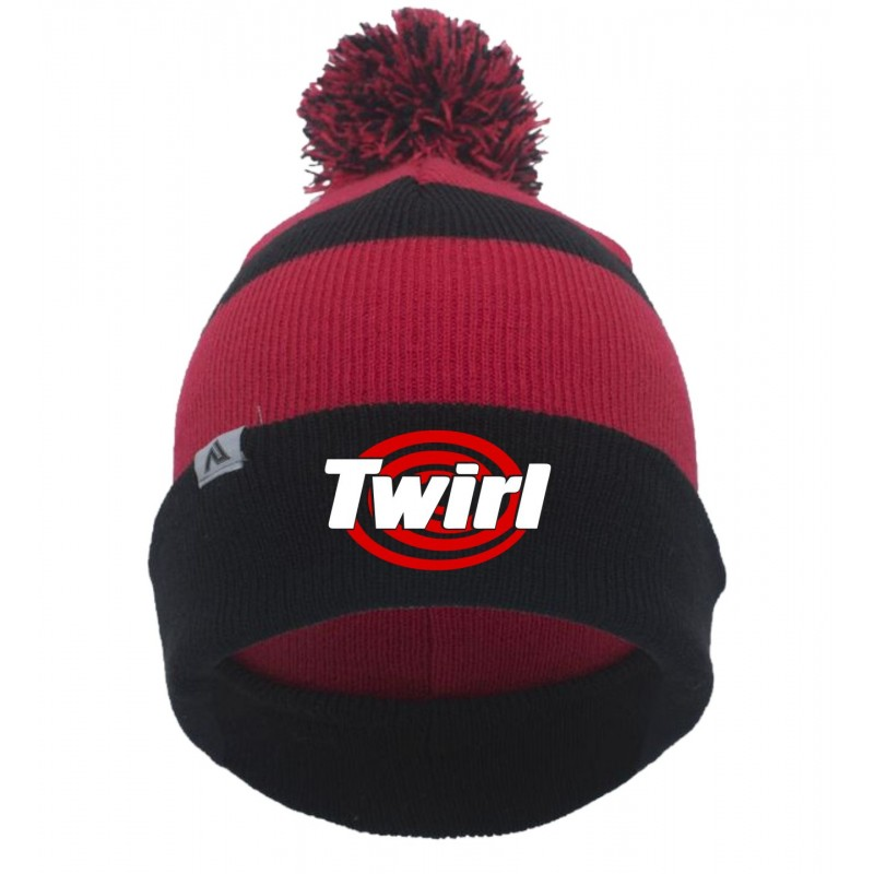 Twirl - Pacific 641K Knit Pom-Pom Beanie (Black/Red/Black)
