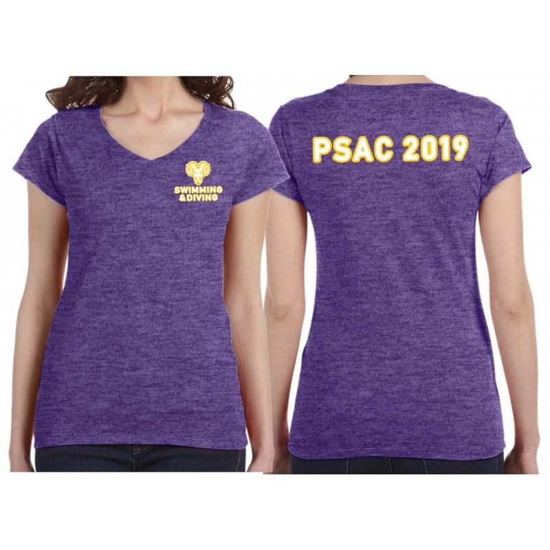 WCU Swimming & Diving - Gildan G64VL Ladies SoftStyle Fitted V-Neck Tee